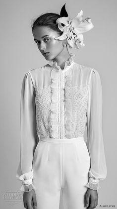 bbe5032b2d61 alon livne 2018 bridal long sleeves high neck heavily embellished shirt  bodice long pants chic wedding