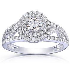 Annello 14k Gold 7/8ct TDW Round Halo Diamond Engagement Ring