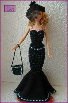 Crochet dress barbie fashion royalty por ModelDoll en Etsy