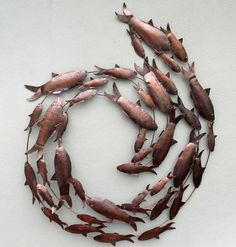 Contemporary Copper Fish Shoal Metal Wall Art - Hand Made Metal Fish Wall Art Metal Sculpture Wall Art, Fish Sculpture, Metal Tree Wall Art, Hanging Wall Art, Wall Sculptures, Metal Art, Fish Wall Art, Fish Art, Tree Wall Decor