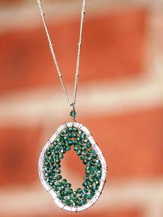 Iridescent Beaded Pendant Necklace @Aaraa Accessories