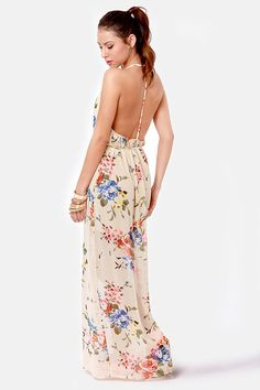 Beautiful Beige Dress - Floral Print Dress - Maxi Dress - $51.00