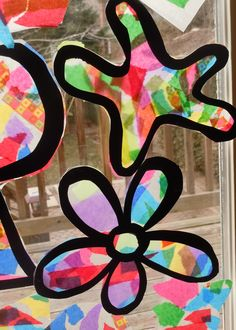 tissue paper/wax paper stained glass