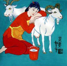 Pastorinha de cabras Cheng Minsheng (QinDu, China, 1943) Aquarela, tinta, sobre papel. 25 cm x 25 cm  Coleção particular.