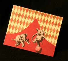 Circus Elephants Greeting Card by Paper Calliope on Etsy