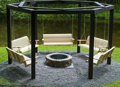 Awesome idea! http://forums.bowhunting.com/diy-archery-hunting-projects/48346-who-doesnt-like-campfire.html Diy Fire Pit, Fire Pit Logs, Fire Pit Swings, Garden Fire Pit, Fire Pit Backyard, Fire Pit Bench, Metal Fire Pit, Concrete Fire Pits, Porch Swing