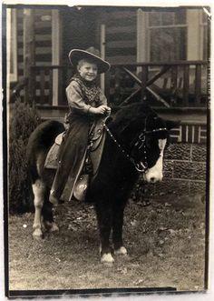 Vtg 1930s 40s Photo Photograph Little Cowboy Boy on A Horse Pony Sweet | eBay