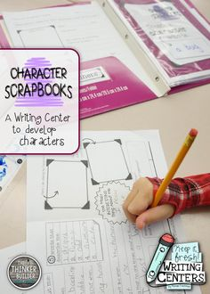 """From the second 4-pack of """"Keep It Fresh! Writing Centers,"""" CHARACTER SCRAPBOOKS has students create and develop a character through a fun scrapbook template. Students can then use their character in their own stories! ($)"""
