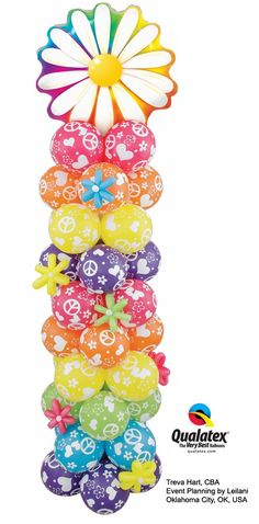 Spring is just around the corner! This groovy column is perfect for decorating any spring event. It features a big Microfoil flower and colorful latex balloons printed with peace signs, flowers, and hearts. Balloon Pillars, Balloon Tower, Balloon Stands, 70s Party, Retro Party, Party Time, Balloon Arrangements, Balloon Decorations, Baby Shower Decorations