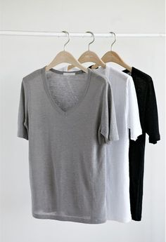Minimal + Chic   @codeplusform - perfect tees: Black, White and Grey - another staple.