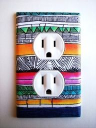 Cut out fabric to fit outlet and secure with Mod Podge