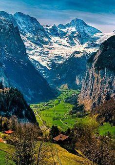 Lauterbrunnen Valley in the Burnese Oberland, Switzerland