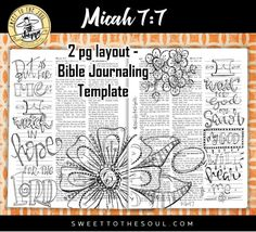 Micah - Soul Inspired  Bible Journaling Template  by SweetToTheSoulShoppe