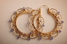 Large Gold Filigree Hoop Earrings with AAA by mosaicdesign on Etsy, $310.00