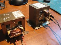 Tutorial: salvaging and rebuilding microwave transformers « mohacks Electronics Projects, Diy Electronics, Stem Projects, Metal Projects, Microwave Transformer, Electrical Transformers, Spot Welder, Fabrication Tools, Electronic Gifts For Men