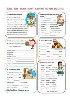Some, any, much, many, a lot of, (a) few, and (a) lot of best practice - ESL worksheets