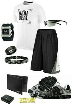 Men's fashion black and gray nike outfit