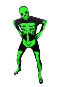 132c180dc9 Morphsuit Glow In The Dark Skeleton Costume Halloween Rave Morph suit MEDIUM