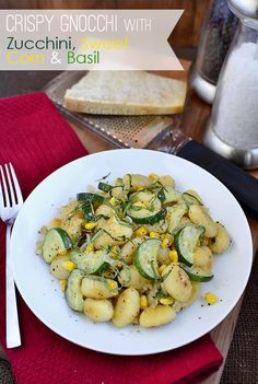 Quick & Easy Crispy Gnocchi with Zucchini, Corn and Basil | iowagirleats.com