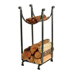 Renowned for its striking profile and utility, this vertical log rack stacks three cubic feet of wood and kindling on a square foot of floor space.
