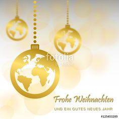 Vektor: Weihnachten mit Globus-Motiv (in Gold)