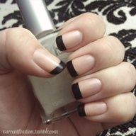 Matte black french manicure... I will have to try this for Fall/Winter!  My hair and nails GROW like CRAZY! Only thing is...bad for highlights/lowlights etc...grows out too quickly. I guess nails are cheaper to maintenance, but easier too if NOT growing so fast...I am NOT complaining though, sometimes its a great thing!