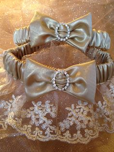 "The "" Donatella "" Gold Garter Set. The Metallics Collection. Free shipping worldwide. Wedding Garters of distinction. https://www.etsy.com/listing/200726224/the-donatella-gold-garter-set-metallics?ref=shop_home_active_5"