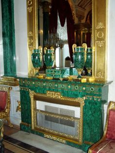 Malachite Hall, Winter Palace, St Petersberg features malachite columns, pilasters, fireplaces, urns and other objects.