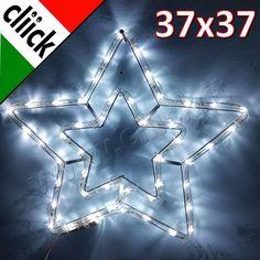 Illuminazione Natalizia Doppia Stella Da Esterno Luci Luce Bianca Fredda Natale