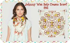"Johnny Was Sala Cream Scarf: Unique prints and rich colors decorate this luxurious silk scarf. Accessorize your outfit with the Johnny Was Sala Cream Scarf. Try it draped, wrapped, or knotted for many different looks. -100% Silk-Measures 43"" x 4 -Signature Silk Print -Dry Clean"