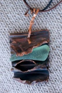 Cindy's Fiberworks: Fold Formed Copper Pendant with Sea Glass