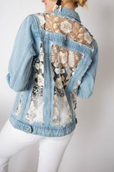 Upcycled denim jacket Denim Diy denim jacket Jackets Embellished denim Denim outfit - Classic longer length jean jacket is made special by the addition of embroidered lace in white and beige with - Jean Jacket Outfits, Denim Outfit, Jean Jacket Vest, Long Denim Jacket, Denim Jacket Patches, Denim Jackets, Cute Jean Jackets, Leather Jackets, Diy Vetement
