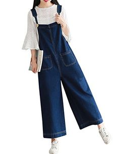 537709c725da Yeokou Women s Loose Baggy Wide Leg Cropped Denim Jumpsuit Rompers Overalls  Pant