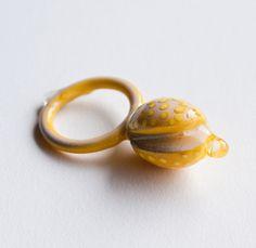 Cut Seed Ring  Artist: Jillian Moore Jewelry Art, Jewellery, Resin, Silver Rings, Stud Earrings, Gemstones, Jewels, Contemporary, Yellow