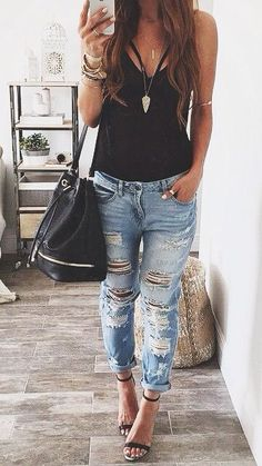 Distressed denim + single strap heel.