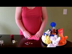How to make a simple washcloth bunny gift (towel animal) - YouTube