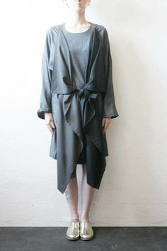 Fourangle Dress grey  Boessert Schorn (Berlin , Germany)      Dress with rectangle inserts in front, belt and stone buttons on  neckline and sleeves, to wear in different ways