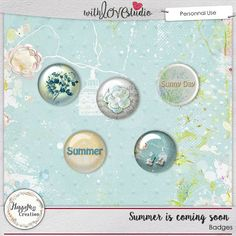 Summer is coming digital scrapbooking flairs by HappyNess Creation. This gorgeous summer inspired in soft pastel colors kit will help you document your summer days on your scrapbooking layouts.