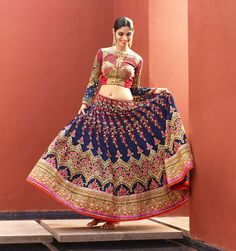 Buy lehenga, Red art silk chaniya choli-Andaaz Fashion now in shop. Andaaz Fashion brings latest designer ethnic wear collection in US Robe Anarkali, Lehenga Saree, Blue Lehenga, Mode Bollywood, Bollywood Fashion, Designer Kurtis, Designer Sarees, Lehenga Choli Online, Indian Sarees Online