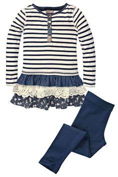 Buy Stripe Frill Hem Dress And Leggings 2 Piece Set from Next Little Girl Dresses, Little Girls, Girls Dresses, Toddler Outfits, Latest Fashion For Women, No Frills, Bell Sleeve Top, Leggings, Blouse