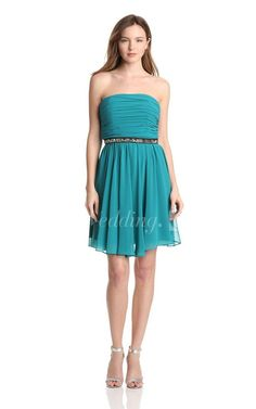 Strapless A-line Ruched Dress With Beaded Waist