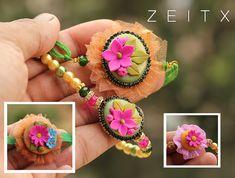 polymer clay floral rakhi Rakhi Bracelet, Rakhi Cards, Handmade Rakhi, Rakhi Design, Polymer Clay Embroidery, Tassels, Jewlery, Diy And Crafts, Crochet Earrings