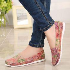 SIKETU Plus Size Floral Loafer Flat Shoes 2