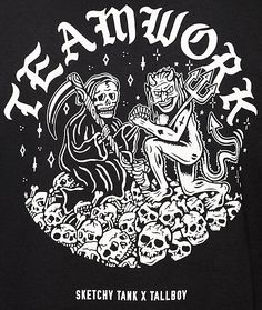 Sketchy Tank x Tallboy Teamwork Black T-Shirt