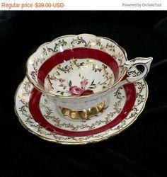 Stafford Royal Vintage taza y plato, tazas de té, taza de té inglesa Bone China, antiguo mango alta boca ancha 1950 taza
