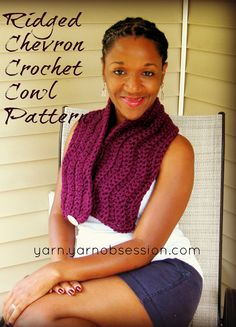 Ridged Chevron Crochet Cowl Pattern Free Pattern   Yarn by Yarn Obsession