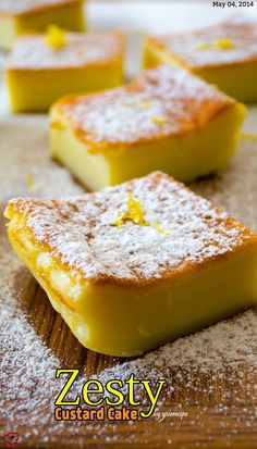 A very light zesty magic custard cake. This could be your ultimate sweet treat to impress your guests. The batter is really runny, so don't get confused. It gets thicker as it is cooked.   giverecipe.com   #cake #magiccake #sweet #dessert #zesty #citrus #summer
