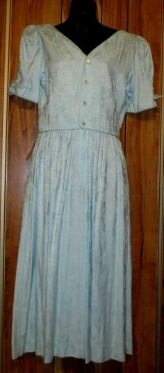 NWT Woman's Lanz Light Blue Floral Spring Dress W/Puffed Sleeves Size 10 NOS New  Now $19.87