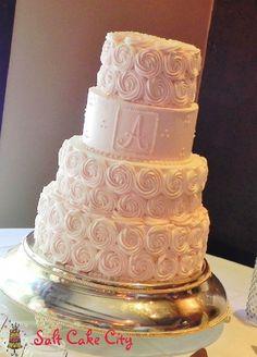 Salt Cake City Blush Buttercream Rosettes Wedding Cake    followpics.co
