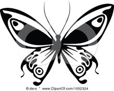 Royalty-Free Vector Clip Art Illustration of a Black And White Flying Butterfly Logo - 10 by dero